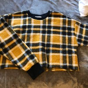 forever 21 yellow and black plaid crop sweater
